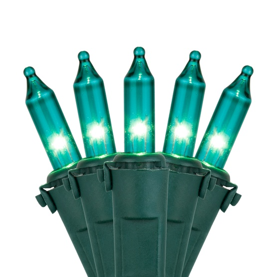 "Commercial 100 Teal Christmas Mini Lights, 6"" Spacing, Green Wire"