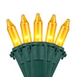 """Commercial 100 Gold Frost Christmas Mini Lights, 6"""" Spacing, Green Wire"""