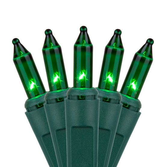 "50 Green Christmas Tree Mini Lights, 6"" Spacing, Green Wire"