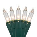 "20 Clear Craft Mini Lights, 4"" Spacing, Green Wire"