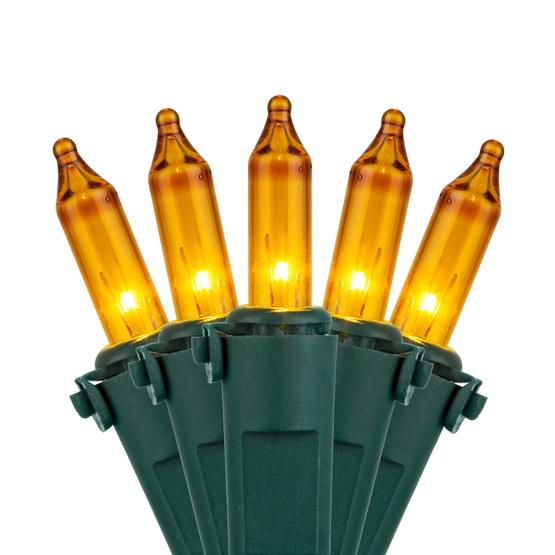 "100 Yellow Mini Christmas Lights, 6"" Spacing, Premium, Green Wire"