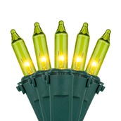 "50 Chartreuse Mini Christmas Lights, 6"" Spacing, Premium, Green Wire"