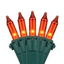 "100 Amber / Orange Christmas Lights, 6"" Spacing, Premium, Green Wire"