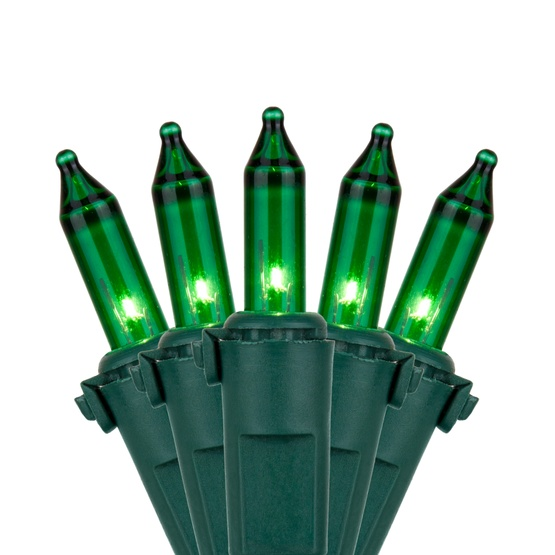 "50 Green Mini Christmas Lights, 4"" Spacing, Premium, Green Wire"