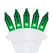 "50 Green Mini Christmas Lights, 4"" Spacing, Premium, White Wire"