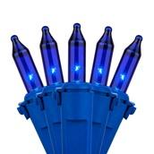 "50 Sky Blue Mini Christmas Lights, 6"" Spacing, Premium, Sky Blue Wire"