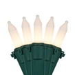 """50 White Frost Mini Christmas Lights, 4"""" Spacing, Premium, Green Wire"""