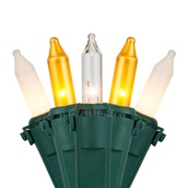 """50 Gold, Clear, White Frost Mini Christmas Lights, 6"""" Spacing, Premium, Green Wire"""