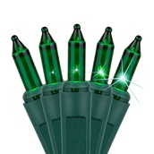"""140 Green Chasing Mini Lights, 4"""" Spacing, Green Wire"""