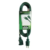 25' Green Medium Duty Extension Cord, 13 Amp with Male Plug, Indoor / Outdoor Use