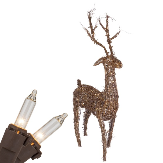 """48"""" Standing Grapevine Reindeer, 200 Clear Lamps"""