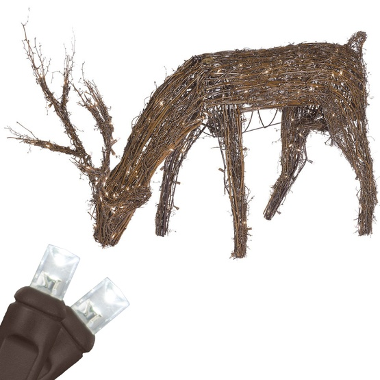 "48"" Grapevine Reindeer with Head Down, 200 Cool White LED Lights"