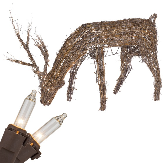 "48"" Grapevine Reindeer With Head Down, 200 Clear Lamps"