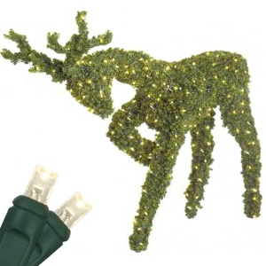 4.8' Head Down Reindeer Topiary, LED Outdoor Yard Decoration