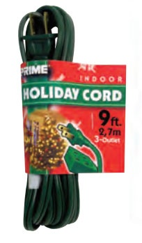 9' Green Multi Outlet Extension Cord, 13 Amp with Male Plug, Indoor Use