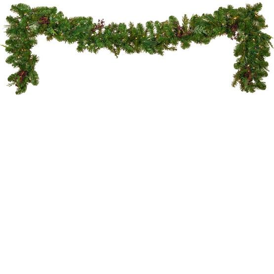 Savannah Mixed Pine Battery Operated LED Christmas Garland, Warm White Lights