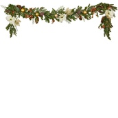Vermont White Battery Operated LED Christmas Garland, Warm White Lights