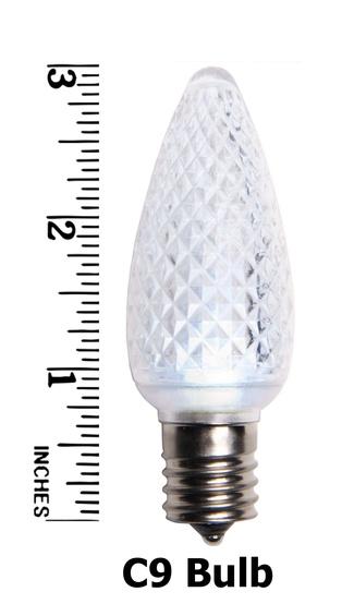 C9 Twinkle Cool White LED Christmas Light Bulbs