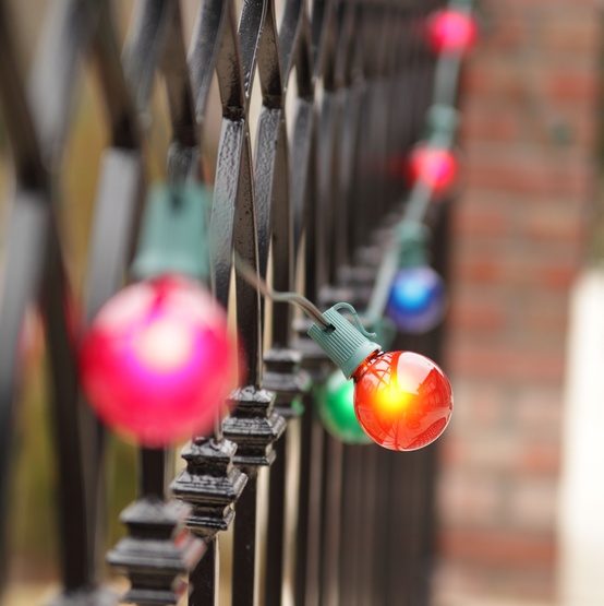 Outdoor String Lights Multicolor : Patio Lights - Commercial Multicolor Satin Party Lights, 16 G50 E17 Bulbs Green Wire