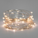 60 Warm White Battery Operated LED Fairy Lights, Silver Wire