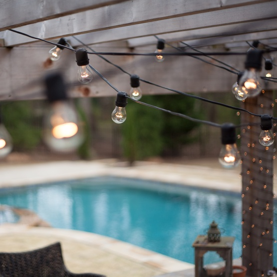 108' Commercial Patio String with 50 A15 Clear Outdoor Patio Lights