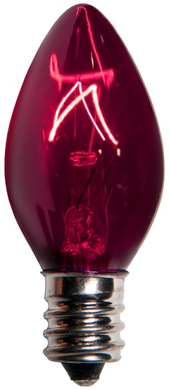 C7 Purple Christmas Light Bulbs, Transparent