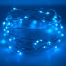 30 Blue Battery Operated LED Fairy Lights, Silver Wire