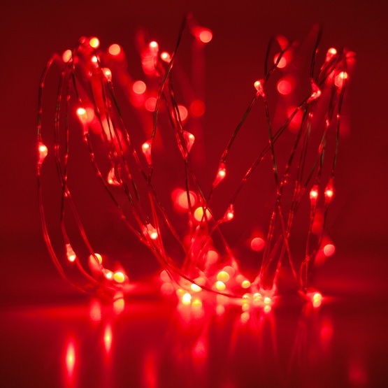 60 Red Battery Operated LED Fairy Christmas Lights, Silver Wire