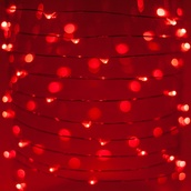30 Red Battery Operated LED Fairy Lights, Silver Wire
