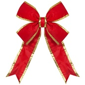 "15"" Red Nylon Bow w/Gold Trim"