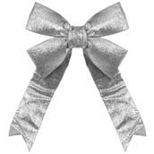 Silver Decorative 3D Glitter Bow
