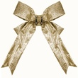 "24"" Gold Glitter Christmas Bow"