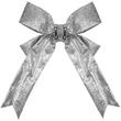 "18"" Silver Glitter Christmas Bow"