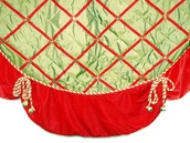 "56"" 56"" Green Satin Tree Skirt with Bells"