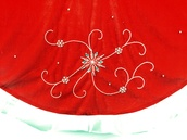 "56"" 56"" Red Velvet Tree Skirt with Beading"