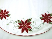 "56"" 56"" Cream and Burgundy Christmas Poinsettia Tree Skirt"