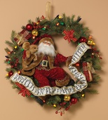 Battery Operated Prelit Wreath, Multi: Red, Blue, Amber, Green, Gold Lights