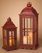 2 Antique Red Metal and Wood Lanterns