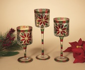 Glass Holiday Goblet Candle Holders, 3 Piece Set