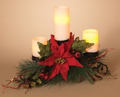 Metal Triple Candle Holder Centerpiece w/ Pointsettia and Berries