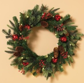 Bells and Holly Prelit LED Holiday Christmas Wreath, Warm White Lights