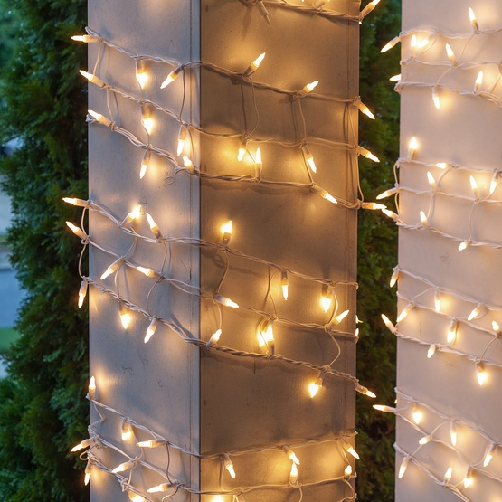 "6"" W x 15' H Column Wrap - 150 White Frost Lights, White Wire"