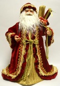 "16"" Burgundy and Gold Santa Tree Topper"