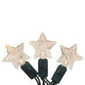20 Warm White Battery Operated Star LED Lights, Green Wire