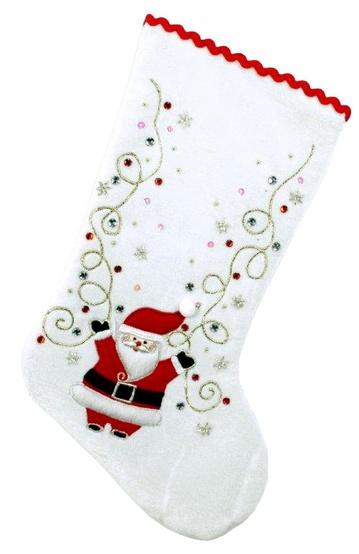 """19"""" White Velvet Santa Stocking"""