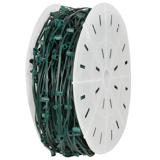"C9 E17 Light Spool, 1000' Length, 18"" Spacing, SPT2 10 Amp Green Wire, Commercial Grade"