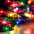 "50 Multi Color Mini Christmas Lights, 4"" Spacing, Premium, Green Wire"