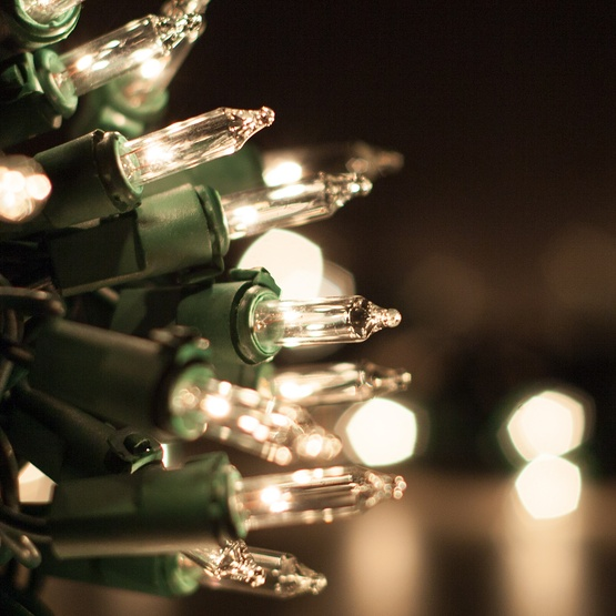 "35 Clear Mini Christmas Lights, 6"" Spacing, Premium, Green Wire"