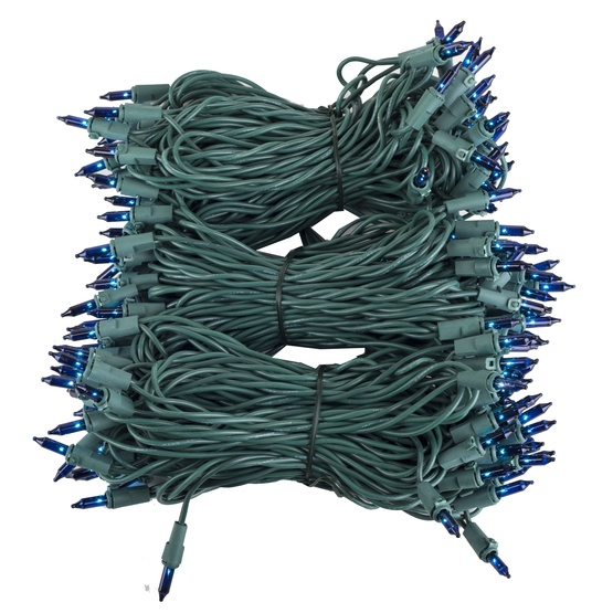"Commercial 150 Blue Christmas Mini Lights, 6"" Spacing, Green Wire"