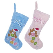 "19"" Pink and Blue Teddy Bear Stocking, Set of 2"